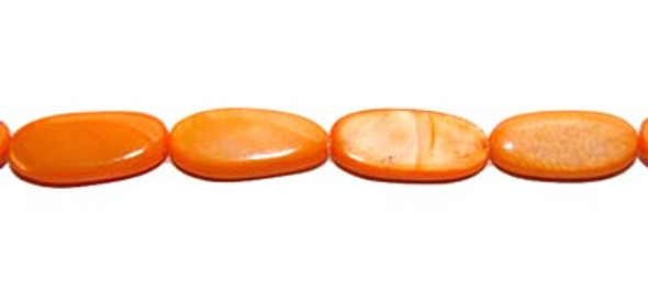 8x18mm  23 beads  orange Mother of pearl long oval beads