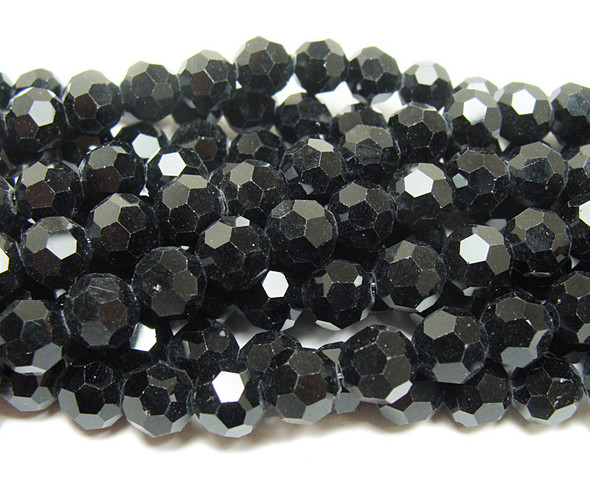 8mm  72 beads Black glass faceted round beads