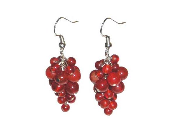 2 Inches Long Silver Hooks Carnelian Grape-Shaped Earrings