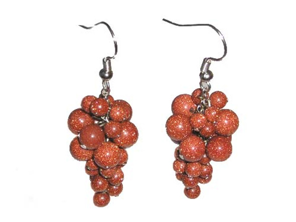2 Inches Long Silver Hooks Goldstone Grape-Shaped Earrings