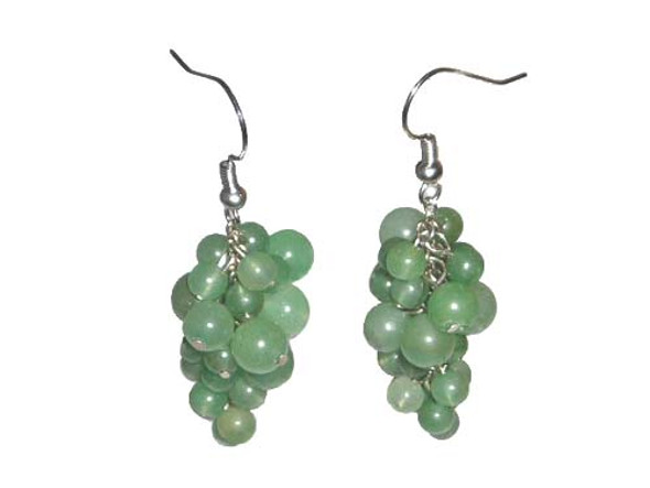 2 inches long  silver hooks Green aventurine grape-shaped earrings