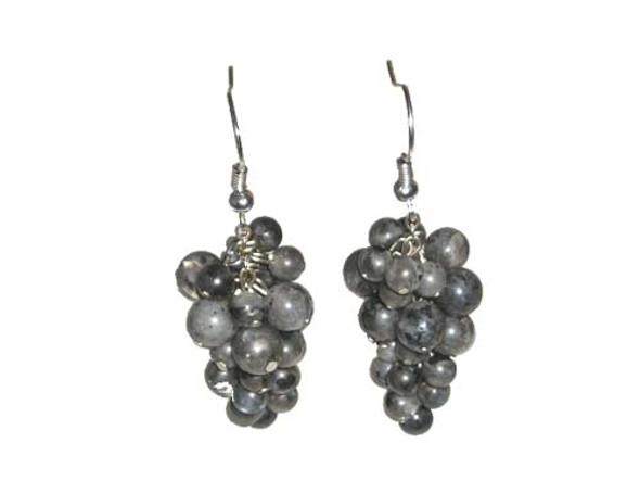 2 Inches Long Silver Hooks Labradorite Grape-Shaped Earrings