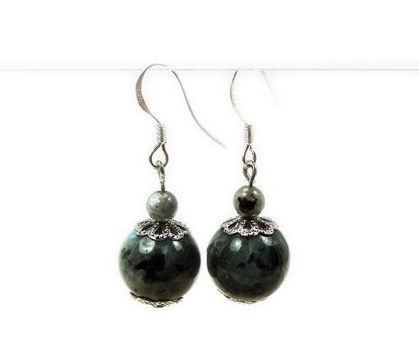 1 1/2 Inches Long Silver Hooks Labradorite Earrings