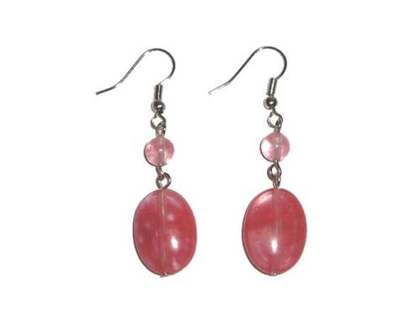Glass Oval Earrings 2 Inches Long Silver Hooks Cherry Quartz Oval Earrings