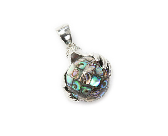 34mm In Total Length Mosaic Abalone Shell Globe Pendant