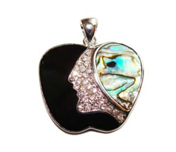 35mm Abalone Shell Apple Pendant With Cz