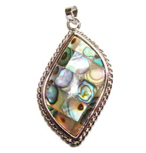 24x37mm Mosaic abalone shell leaf pendant
