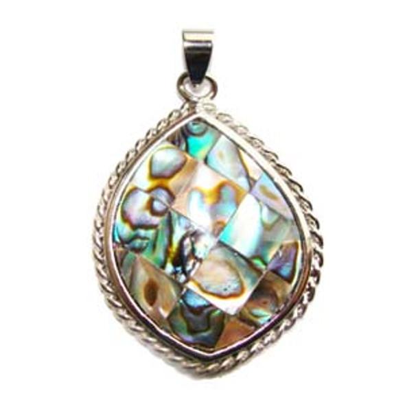 26x30mm Mosaic abalone shell leaf pendant