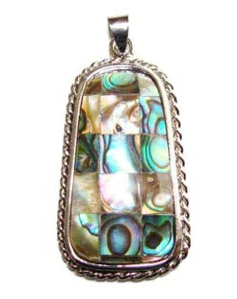 22x28mm Mosaic abalone shell ladder pendant