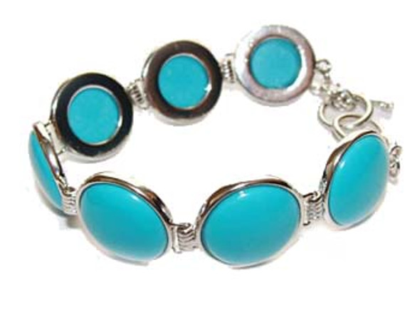 7.5 - 8 inches  round stone Turquoise fashion bracelet