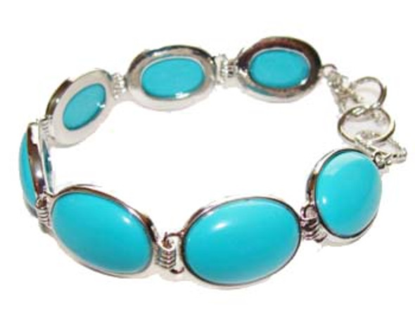 7.5 - 8 inches  oval stone Turquoise fashion bracelet