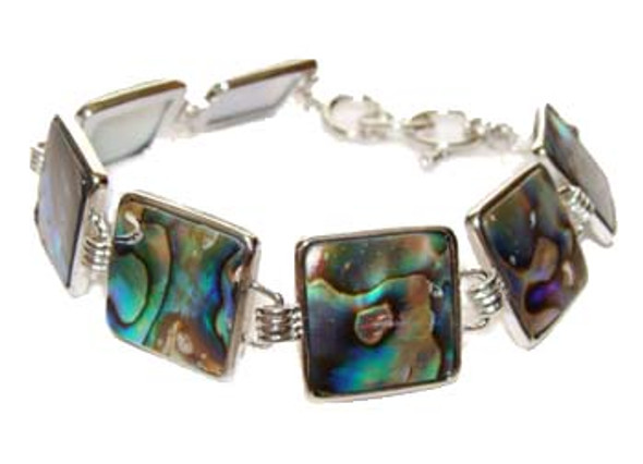 7.5 - 8.5 inches  square Abalone shell fashion bracelet