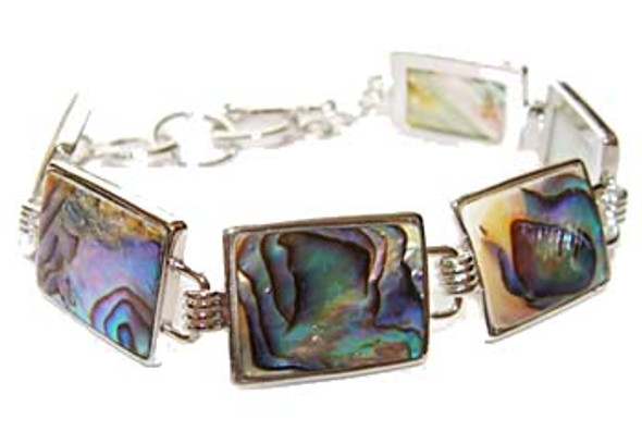 7.5 - 8.5 inches  rectangular Abalone shell fashion bracelet