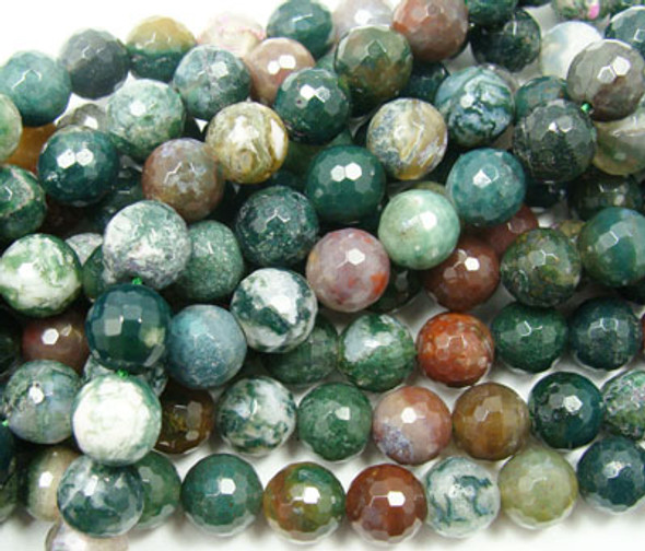 10mm Indian agate faceted round beads