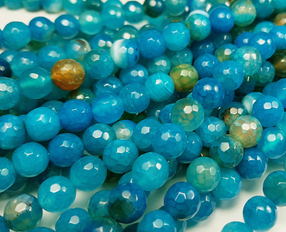 8mm Approx. 47 Beads Aqua Agate Faceted Round Beads