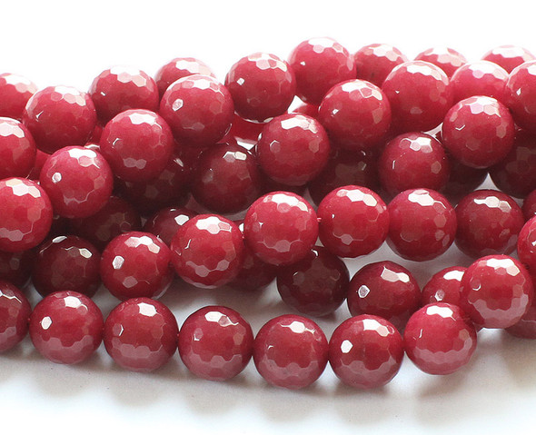 8mm Ruby Jade Faceted Round Beads