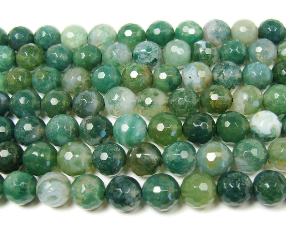 12mm Moss opal faceted round beads