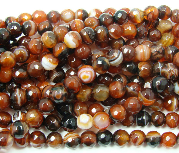 6mm Dream Agate Striped Faceted Round Beads, About 62 Beads