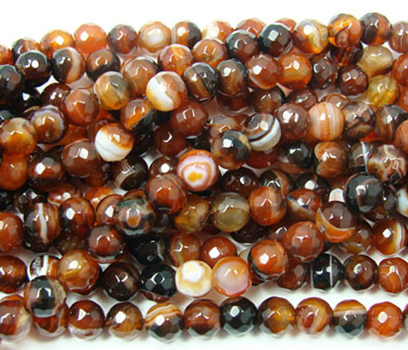 14mm  Dream agate striped faceted round beads, about 28 beads