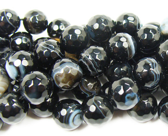 8mm  Black striped agate faceted round beads