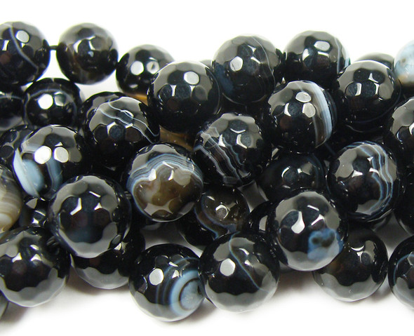 10mm  Black striped agate faceted round beads