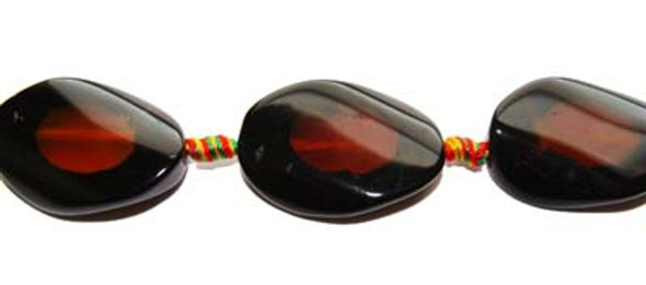 25x35mm Agate Twisted Oval Beads. 9 Beads Per Strand.