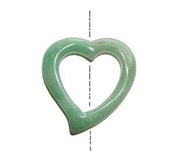 40x40mm Green aventurine heart shaped pendant