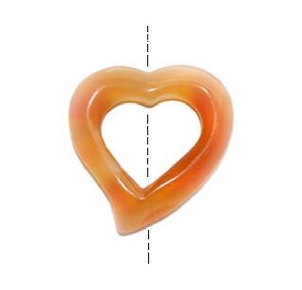 40x40mm Carnelian heart shaped pendant