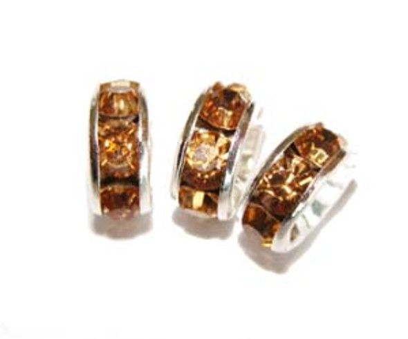 "4x8mm  pack of 50  light amber Cubic Zirconia ""CZ"" spacer beads"