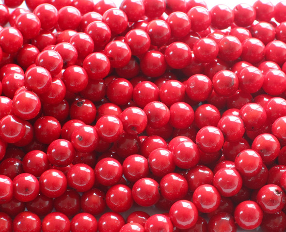 4mm Red Bamboo Coral Round Beads