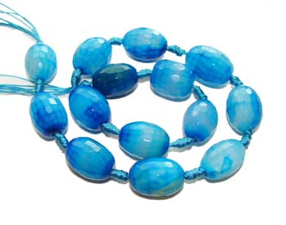 13x18 - 15x20mm  Sea blue Agate faceted barrel beads. 14 beads per strand.
