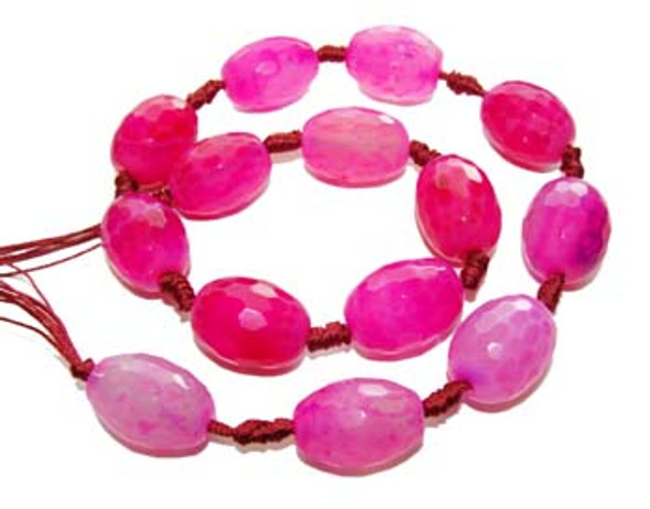 13x18 - 15x20mm  Pink Agate faceted barrel beads. 14 beads per strand.