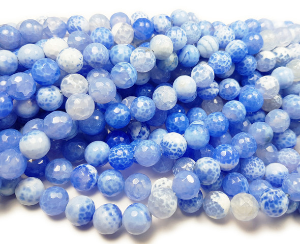 6mm Blue Fire Agate Faceted Round Beads