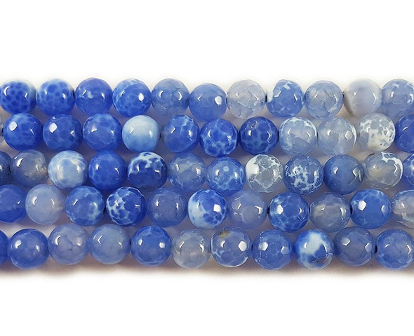 8mm Blue Fire Agate Faceted Round Beads