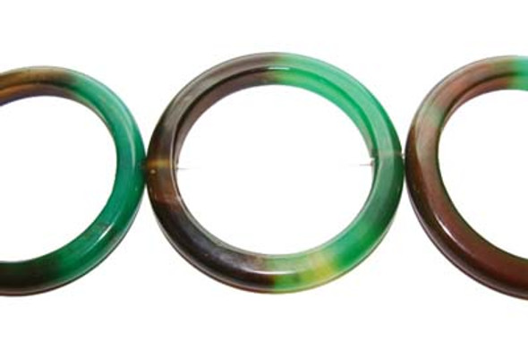 50mm Green And Brown Agate Circle Beads. 7 Beads Per Strand.