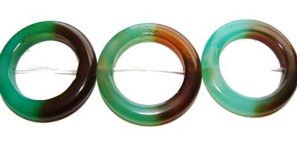 35mm Green And Brown Agate Circle Beads. 10 Beads Per Strand.