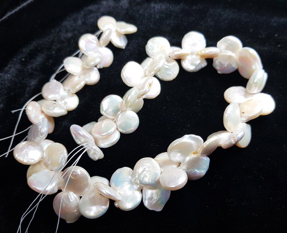 12x24mm 15.5 Inches White Double Coin Pearls