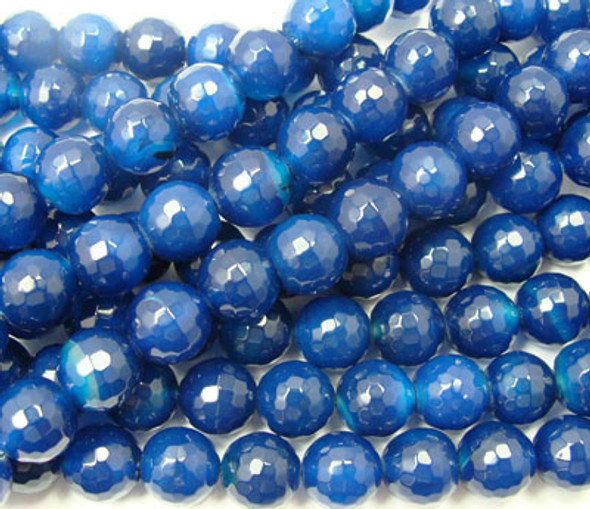 10mm Dark Blue Agate Faceted Round Beads