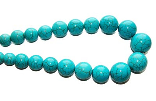 8 - 20mm 18.5 Inches Turquoise/Howlite Graduated Round Beads