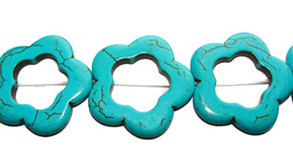 30mm 13 Beads Turquoise/Howlite Carved Flower Beads