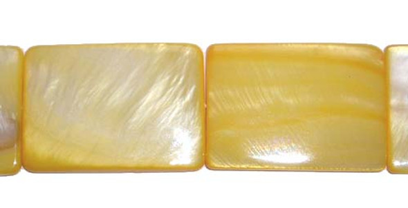 15x20mm Mother of pearl rectangle beads, yellow color