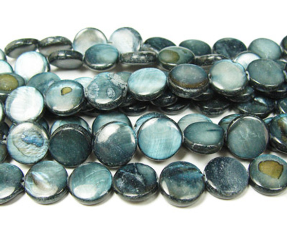20mm Dark gray mother of pearl puffed coin beads
