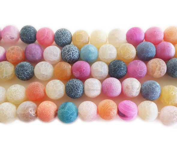 12mm  14 inches Multi color matte agate round beads