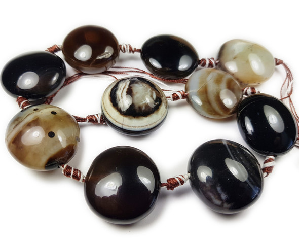 30mm 10 Beads Heavenly Eyes Agate Round Pebble Beads