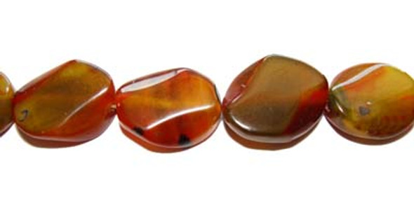 """13x18mm 15"""" Strand Brown And Green Agate Twisty Oval Beads"""