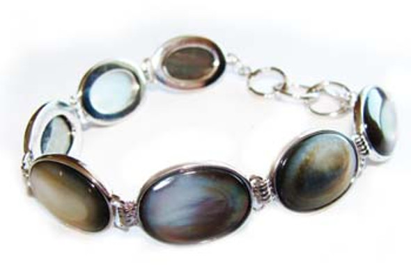 7.5 - 8.5 inches  oval Black sea shell fashion bracelet