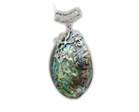 40x60mm Abalone shell puffed oval pendant