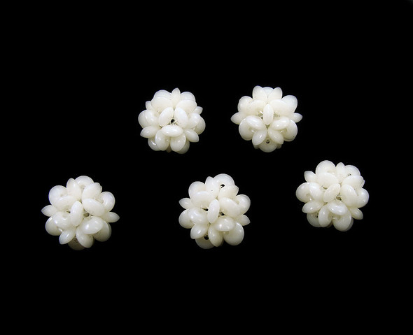 12mm  priced for 4 pcs White coral knitted round bead