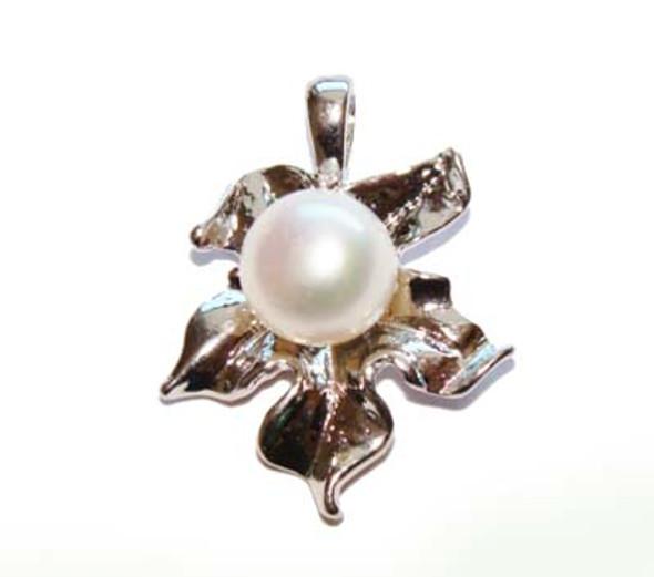 19x20mm White Pearl Flower Pendant