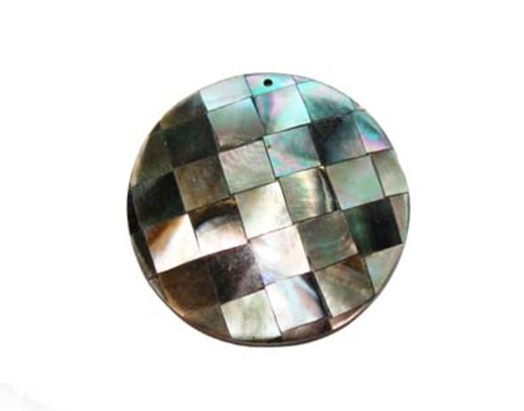 35mm Black shell mosaic round pendant